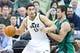 Feb 24, 2014; Salt Lake City, UT, USA; Boston Celtics center Kris Humphries (43) defends against Utah Jazz center Enes Kanter (0) during the first half at EnergySolutions Arena. Mandatory Credit: Russ Isabella-USA TODAY Sports