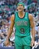 Feb 24, 2014; Salt Lake City, UT, USA; Boston Celtics point guard Rajon Rondo (9) reacts on the court during the second half against the Utah Jazz at EnergySolutions Arena. The Jazz won 110-98. Mandatory Credit: Russ Isabella-USA TODAY Sports