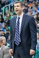 Feb 24, 2014; Salt Lake City, UT, USA; Boston Celtics head coach Brad Stevens reacts from the sidelines during the second half against the Utah Jazz at EnergySolutions Arena. The Jazz won 110-98. Mandatory Credit: Russ Isabella-USA TODAY Sports