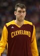 Feb 21, 2014; Toronto, Ontario, CAN; Cleveland Cavaliers center Spencer Hawes (32) warms up before playing against the Toronto Raptors at Air Canada Centre. The Raptors beat the Cavaliers 98-91. Mandatory Credit: Tom Szczerbowski-USA TODAY Sports