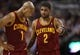 Feb 21, 2014; Toronto, Ontario, CAN; Cleveland Cavaliers guard Kyrie Irving (2) talks to guard Jarrett Jack (1) against the Toronto Raptors at Air Canada Centre. The Raptors beat the Cavaliers 98-91. Mandatory Credit: Tom Szczerbowski-USA TODAY Sports