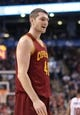 Feb 21, 2014; Toronto, Ontario, CAN; Cleveland Cavaliers forward Tyler Zeller (40) protests a foul called against him during their game against the Toronto Raptors at Air Canada Centre. The Raptors beat the Cavaliers 98-91. Mandatory Credit: Tom Szczerbowski-USA TODAY Sports