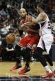 Feb 25, 2014; Atlanta, GA, USA; Chicago Bulls power forward Taj Gibson (22) drives to the basket against the Atlanta Hawks in the second quarter at Philips Arena. Mandatory Credit: Brett Davis-USA TODAY Sports