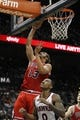 Feb 25, 2014; Atlanta, GA, USA; Chicago Bulls center Joakim Noah (13) shoots the ball against the Atlanta Hawks in the second quarter at Philips Arena. Mandatory Credit: Brett Davis-USA TODAY Sports
