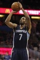 Feb 12, 2014; Orlando, FL, USA; Memphis Grizzlies point guard Darius Morris (7) shoots a free throw against the Orlando Magic during the second quarter at Amway Center. Mandatory Credit: Kim Klement-USA TODAY Sports