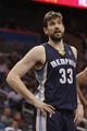 Feb 12, 2014; Orlando, FL, USA; Memphis Grizzlies center Marc Gasol (33) against the Orlando Magic during the second quarter at Amway Center. Mandatory Credit: Kim Klement-USA TODAY Sports