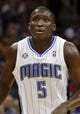 Feb 12, 2014; Orlando, FL, USA; Orlando Magic shooting guard Victor Oladipo (5) against the Memphis Grizzlies during the second quarter at Amway Center. Mandatory Credit: Kim Klement-USA TODAY Sports