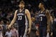 Feb 12, 2014; Orlando, FL, USA; Memphis Grizzlies center Marc Gasol (33) and Memphis Grizzlies power forward James Johnson (3) talk against the Orlando Magic during the second quarter at Amway Center. Mandatory Credit: Kim Klement-USA TODAY Sports