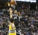 Feb 27, 2014; Denver, CO, USA; Brooklyn Nets forward Paul Pierce (34) shoots the ball during the second half against the Denver Nuggets at Pepsi Center.  The Nets won 112-89.  Mandatory Credit: Chris Humphreys-USA TODAY Sports