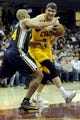 Feb 28, 2014; Cleveland, OH, USA; Cleveland Cavaliers center Spencer Hawes (32) drives on Utah Jazz small forward Richard Jefferson (24) during the first quarter at Quicken Loans Arena. Mandatory Credit: Ken Blaze-USA TODAY Sports