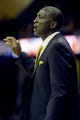 Feb 28, 2014; Cleveland, OH, USA; Utah Jazz head coach Tyrone Corbin calls out a play to his team during the first quarter against the Cleveland Cavaliers at Quicken Loans Arena. Mandatory Credit: Ken Blaze-USA TODAY Sports