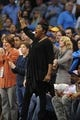 Feb 28, 2014; Oklahoma City, OK, USA; Wanda Pratt, mother of Oklahoma City Thunder small forward Kevin Durant (35) cheers in action against the Memphis Grizzlies at Chesapeake Energy Arena. Mandatory Credit: Mark D. Smith-USA TODAY Sports