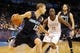 Mar 2, 2014; Oklahoma City, OK, USA; Charlotte Bobcats point guard Luke Ridnour (13) drives the ball to the basket against Oklahoma City Thunder point guard Reggie Jackson (15) during the second quarter at Chesapeake Energy Arena. Mandatory Credit: Mark D. Smith-USA TODAY Sports