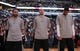 Mar 2, 2014; San Antonio, TX, USA;  San Antonio Spurs players (from left) Tony Parker, and Manu Ginobili, and Tim Duncan during the national anthem before the game against the Dallas Mavericks at AT&T Center. Mandatory Credit: Soobum Im-USA TODAY Sports