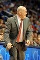 Mar 2, 2014; Oklahoma City, OK, USA; Charlotte Bobcats head coach Steve Clifford reacts to a call in action against the Oklahoma City Thunder at Chesapeake Energy Arena. Mandatory Credit: Mark D. Smith-USA TODAY Sports
