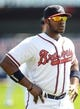 Mar 3, 2014; Lake Buena Vista, FL, USA; Atlanta Braves outfielder B.J. Upton (2) warms up before the spring training exhibition game against the New York Mets at Champion Stadium.  Mandatory Credit: Jonathan Dyer-USA TODAY Sports