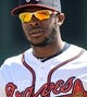 Mar 3, 2014; Lake Buena Vista, FL, USA; Atlanta Braves outfielder Justin Upton (8) before the spring training exhibition game against the New York Mets at Champion Stadium.  Mandatory Credit: Jonathan Dyer-USA TODAY Sports