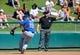 Mar 3, 2014; Lake Buena Vista, FL, USA; New York Mets third basemen Zach Lutz (19) fields a ground ball during the spring training exhibition game against the Atlanta Braves at Champion Stadium. Mandatory Credit: Jonathan Dyer-USA TODAY Sports