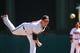 Mar 3, 2014; Lake Buena Vista, FL, USA; Atlanta Braves pitcher Craig Kimbrel (46) warms up  during the spring training exhibition game against the New York Mets at Champion Stadium. Mandatory Credit: Jonathan Dyer-USA TODAY Sports