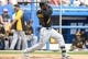Mar 5, 2014; Dunedin, FL, USA; Pittsburg Pirates outfielder Starling Marte (6) at bat in the first inning of the spring training exhibition game against the Toronto Blue Jays at Florida Auto Exchange Park. Mandatory Credit: Jonathan Dyer-USA TODAY Sports
