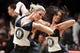 Mar 5, 2014; Brooklyn, NY, USA; The Brooklynettes dance team performs during the fourth quarter of a game between the Brooklyn Nets and the Memphis Grizzlies at Barclays Center. The Nets defeated the Grizzlies 103-94. Mandatory Credit: Brad Penner-USA TODAY Sports