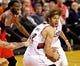 Mar 5, 2014; Portland, OR, USA; Portland Trail Blazers center Robin Lopez (42) spins to the basket against the Atlanta Hawks at the Moda Center. Mandatory Credit: Craig Mitchelldyer-USA TODAY Sports