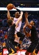 Mar 6, 2014; Phoenix, AZ, USA; Oklahoma City Thunder guard Russell Westbrook (0) drives to the basket in the first quarter against the Phoenix Suns at the US Airways Center. Mandatory Credit: Mark J. Rebilas-USA TODAY Sports