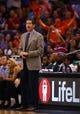 Mar 6, 2014; Phoenix, AZ, USA; Phoenix Suns head coach Jeff Hornacek in the first half against the Oklahoma City Thunder at the US Airways Center. Mandatory Credit: Mark J. Rebilas-USA TODAY Sports
