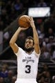 Mar 6, 2014; San Antonio, TX, USA; San Antonio Spurs forward Marco Belinelli (3) shoots the ball against the Miami Heat during the second half at AT&T Center. The Spurs won 111-87. Mandatory Credit: Soobum Im-USA TODAY Sports