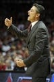 Mar 8, 2014; Louisville, KY, USA; Louisville Cardinals head coach Rick Pitino reacts during the second half against the Connecticut Huskies at KFC Yum! Center. Louisville defeated Connecticut 81-48.  Mandatory Credit: Jamie Rhodes-USA TODAY Sports