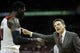 Mar 8, 2014; Louisville, KY, USA; Louisville Cardinals head coach Rick Pitino talks with forward Montrezl Harrell (24) during the second half against the Connecticut Huskies at KFC Yum! Center. Louisville defeated Connecticut 81-48.  Mandatory Credit: Jamie Rhodes-USA TODAY Sports