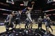 Mar 8, 2014; San Antonio, TX, USA; San Antonio Spurs guard Manu Ginobili (20) shoots the ball past Orlando Magic center Nikola Vucevic (9) during the first half at AT&T Center. Mandatory Credit: Soobum Im-USA TODAY Sports