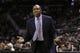 Mar 8, 2014; San Antonio, TX, USA; Orlando Magic head coach Jacque Vaughn argues a call during the second half at AT&T Center. The Spurs won 121-112. Mandatory Credit: Soobum Im-USA TODAY Sports