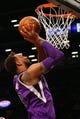 Mar 9, 2014; Brooklyn, NY, USA;  Sacramento Kings power forward Derrick Williams (13) shoots during the first quarter against the Brooklyn Nets at Barclays Center. Mandatory Credit: Anthony Gruppuso-USA TODAY Sports