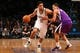 Mar 9, 2014; Brooklyn, NY, USA;  Brooklyn Nets point guard Jorge Gutierrez (13) drives past Sacramento Kings center Aaron Gray (33) during the fourth quarter at Barclays Center. Brooklyn Nets won 104-89.  Mandatory Credit: Anthony Gruppuso-USA TODAY Sports