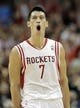 Mar 9, 2014; Houston, TX, USA; Houston Rockets point guard Jeremy Lin (7) celebrates after making a shot during the fourth quarter against the Portland Trail Blazers at Toyota Center. Mandatory Credit: Andrew Richardson-USA TODAY Sports