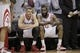 Mar 9, 2014; Houston, TX, USA; Houston Rockets small forward Chandler Parsons (25) and shooting guard James Harden (13) sit on the bench during the fourth quarter against the Portland Trail Blazers at Toyota Center. Mandatory Credit: Andrew Richardson-USA TODAY Sports