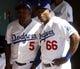 Mar 10, 2014; Phoenix, AZ, USA; Los Angeles Dodgers third baseman Juan Uribe (5) and right fielder Yasiel Puig (66) before a game against the Oakland Athletics at Camelback Ranch. Mandatory Credit: Rick Scuteri-USA TODAY Sports