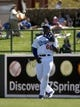 Mar 10, 2014; Phoenix, AZ, USA; Los Angeles Dodgers right fielder Yasiel Puig (66) makes the catch in the second inning against the Oakland Athletics at Camelback Ranch. Mandatory Credit: Rick Scuteri-USA TODAY Sports