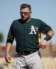 Mar 10, 2014; Phoenix, AZ, USA; Oakland Athletics third baseman Josh Donaldson (20) reacts after getting out against the Los Angeles Dodgers in the third inning at Camelback Ranch. Mandatory Credit: Rick Scuteri-USA TODAY Sports