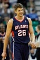 Mar 10, 2014; Salt Lake City, UT, USA; Atlanta Hawks shooting guard Kyle Korver (26) walks to the bench after being called on his third foul against the Utah Jazz during the second quarter at EnergySolutions Arena. Mandatory Credit: Chris Nicoll-USA TODAY Sports