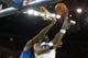 Mar 11, 2014; Oakland, CA, USA; Golden State Warriors center Jermaine O'Neal (7) is fouled by Dallas Mavericks center DeJuan Blair (45) on a shot during the third quarter at Oracle Arena. The Golden State Warriors defeated the Dallas Mavericks 108-85. Mandatory Credit: Kelley L Cox-USA TODAY Sports