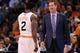 Mar 12, 2014; Phoenix, AZ, USA; Phoenix Suns head coach Jeff Hornacek  talks with guard Eric Bledsoe (2) in the first half against the Cleveland Cavaliers at US Airways Center. Mandatory Credit: Jennifer Stewart-USA TODAY Sports