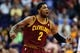 Mar 12, 2014; Phoenix, AZ, USA; Cleveland Cavaliers guard Kyrie Irving (2) reacts on the court against the Phoenix Suns in the second half at US Airways Center. The Cavaliers won 110-101.  Mandatory Credit: Jennifer Stewart-USA TODAY Sports