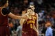 Mar 12, 2014; Phoenix, AZ, USA; Cleveland Cavaliers guard Matthew Dellavedova (8) is congratulated by teammate center Anderson Varejao (17) in the second half of the game against the Phoenix Suns at US Airways Center. The Cavaliers won 110-101.  Mandatory Credit: Jennifer Stewart-USA TODAY Sports