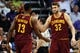 Mar 12, 2014; Phoenix, AZ, USA; Cleveland Cavaliers center Spencer Hawes (32) high fives forward Tristan Thompson (13) against the Phoenix Suns in the first half at US Airways Center. The Cavaliers won 110-101. Mandatory Credit: Jennifer Stewart-USA TODAY Sports