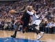 Feb 18, 2014; Dallas, TX, USA; Miami Heat small forward LeBron James (6) drives to the basket during the game against the Dallas Mavericks  the American Airlines Center. The Heat defeated the Mavericks  117-106. Mandatory Credit: Jerome Miron-USA TODAY Sports