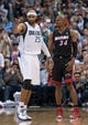 Feb 18, 2014; Dallas, TX, USA; Dallas Mavericks shooting guard Vince Carter (25) and Miami Heat shooting guard Ray Allen (34) during the game at the American Airlines Center. The Heat defeated the Mavericks  117-106. Mandatory Credit: Jerome Miron-USA TODAY Sports