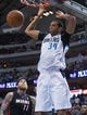 Feb 18, 2014; Dallas, TX, USA; Dallas Mavericks power forward Brandan Wright (34) during the game against the Miami Heat at the American Airlines Center. The Heat defeated the Mavericks  117-106. Mandatory Credit: Jerome Miron-USA TODAY Sports
