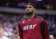 Feb 18, 2014; Dallas, TX, USA; Miami Heat small forward LeBron James (6) before the game against the Dallas Mavericks at the American Airlines Center. The Heat defeated the Mavericks  117-106. Mandatory Credit: Jerome Miron-USA TODAY Sports